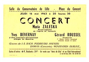 Yves Devernay - Leaflet announcing the concert of the Club International with Yves Devernay
