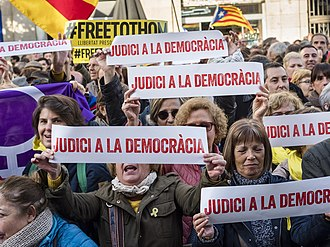 Trial of Catalonia independence leaders - Rally against the trial in December 2018
