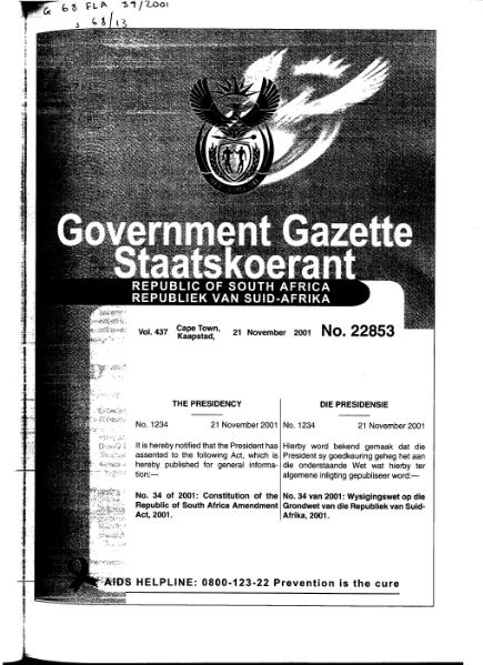File:Constitution of the Republic of South Africa Amendment Act 2001 from Government Gazette.djvu