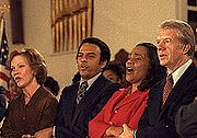 Coretta Scott King, along with Rosalynn Carter, Andrew Young, Jimmy Carter, and other civil rights leaders during a visit to Ebenezer Baptist Church in Atlanta, January 14, 1979.