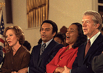 Coretta Scott King - King, along with Rosalynn Carter, Andrew Young, Jimmy Carter, and other civil rights leaders during a visit to Ebenezer Baptist Church in Atlanta, January 14, 1979