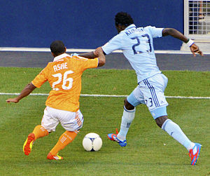 Kei Kamara - Kamara taking on Houston Dynamo's Corey Ashe.