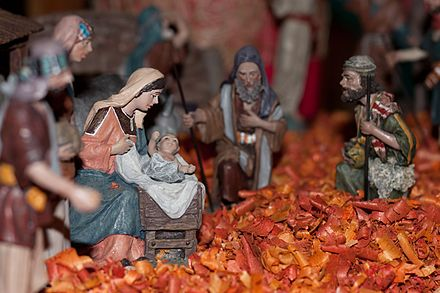 A nativity scene in France. Santons featuring the Virgin Mary. Creche - bergers.jpg
