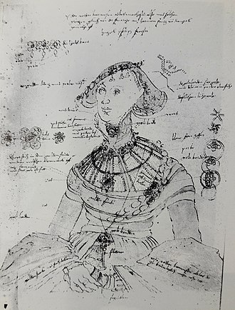 Lucas Cranach the Elder - Study for portrait of Margaret of Pomerania (1518–1569), ca. 1545, a drawing with all details of the sitter's costume meticulously described, was intended for the future reference and to facilitate the work on large number of commissions in the artist's atelier.