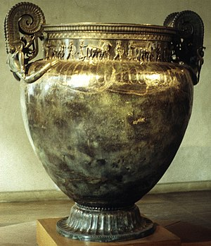 Greeks in pre-Roman Gaul - The Vix krater, an imported Greek wine-mixing vessel from 500 BC attests to the trade exchanges of the period