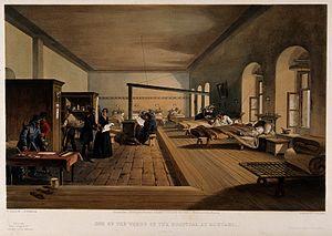 Crimean War; Florence Nightingale at Scutari Hospital. Colou Wellcome V0015447.jpg