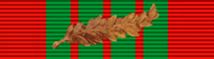 William F. Train - Image: Croix de guerre 1939 1945 with palm (France) ribbon bar