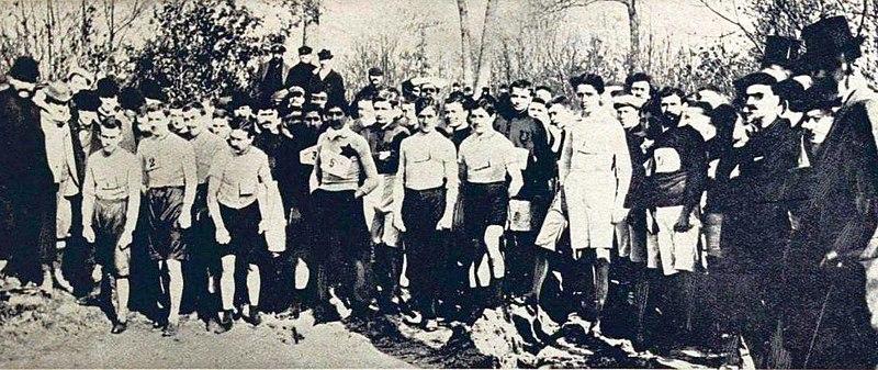 File:Départ du championnat de France de cross-country de 1896, vainqueur Michel Soalhat (et aussi par équipe, avec le RCF).jpg