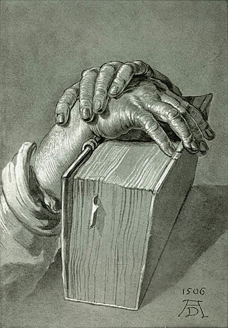 Lectio Divina - Hands on the Bible, Albrecht Dürer, 16th century.