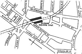 Sloane Square tube station - Plan of Sloane Square station, Sloane Square and surrounding streets, as they were in 1888.
