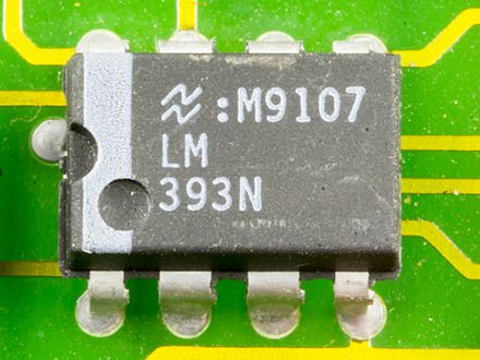 LM393 differential comparator manufactured by National Semiconductor DOV-1X - National Semiconductor LM393N on printed circuit board-9800.jpg