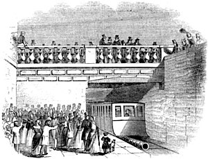 Atmospheric railway - Arriving at Kingstown on the Dalkey Atmospheric Railway in 1844