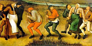Painting by Pieter Brueghel the Younger of dancing peasants