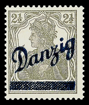 Postage stamps and postal history of Free City of Danzig - A 1920 Germany stamp overprinted for use in Danzig