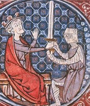 Warfare in Medieval Scotland - David I knighting a squire.