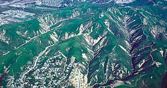 Debris flow - Scars formed by debris flow in Ventura, greater Los Angeles during the winter of 1983. The photograph was taken within several months of the debris flows occurring.