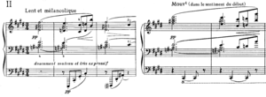 Dominant seventh sharp ninth chord - Measures 1-3 and 41-42 of Debussy's Feuilles Mortes, from his second book of Préludes (1913).
