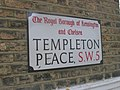 Defaced streetsign, Templeton Place SW5 - geograph.org.uk - 1485120.jpg