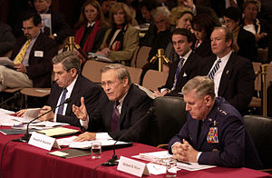 Paul Wolfowitz - Dep. Sec. Wolfowitz, Sec. Rumsfeld, and Gen. Richard Myers testify before the 9/11 Commission in March 2004.
