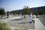 Defense.gov News Photo 110911-F-RG147-535 - Honor Guard members stand in the memorial courtyard before laying wreaths on each individual bench during the 9 11 remembrance ceremony at the.jpg