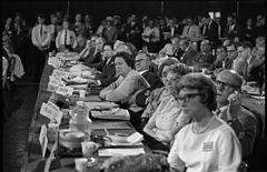 Democratic platform committee, before which Alabama Governor George Wallace is appearing at the 1964 Democratic National Convention, Atlantic City, New Jersey.jpg