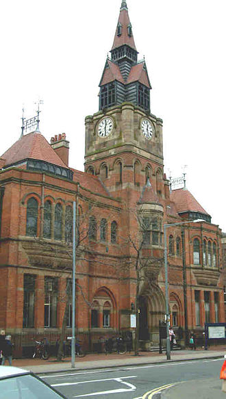 Derby Museum and Art Gallery - The 1876 building mostly housed Derby Central Library today but the dividing line with newer building varies