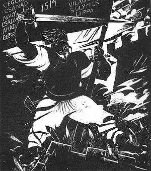 "György Dózsa - Dózsa on the Wall from the ""Dózsa woodcut series"" by Gyula Derkovits, 1928"