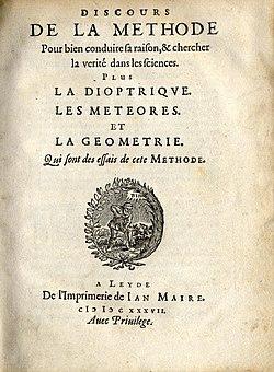 Page de titre de la première édition du Discours de la méthode