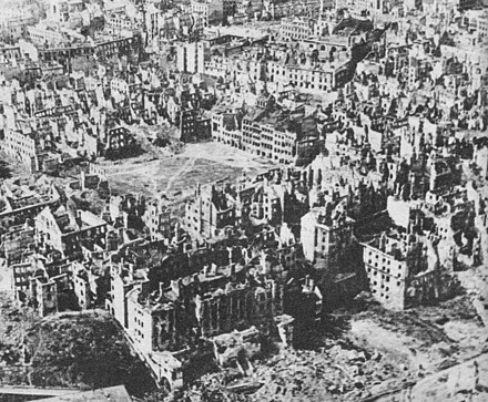 Warsaw Old Town; after the Warsaw Uprising, 85% of the city was deliberately destroyed by the German forces. Destroyed Warsaw, capital of Poland, January 1945.jpg