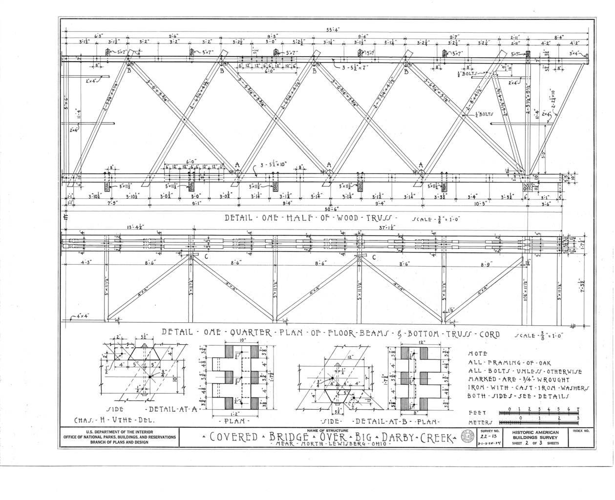 File Detail One Half Of Wood Truss Detail One Quarter