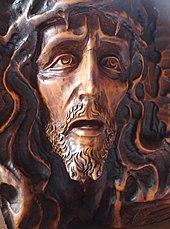 Detail einer Jesusskulptur in der Església de Santa Maria de Roses (Katalonien, Spanien).jpg