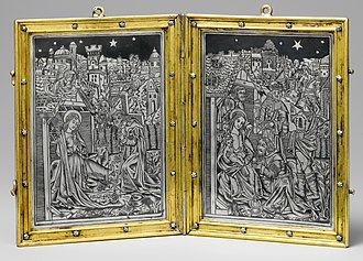 Niello - Diptych with Nativity and Adoration, silver and niello,  gilt-bronze frame, Paris, c. 1500, The Cloisters