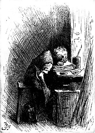 Charles Dickens - Illustration by Fred Bernard of Dickens at work in a shoe-blacking factory after his father had been sent to the Marshalsea, published in the 1892 edition of Forster's Life of Dickens