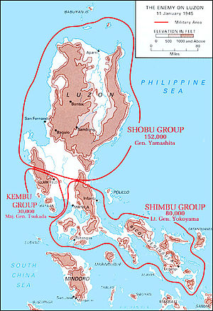 Forty-First Army (Japan) - Disposition of Japanese Forces in the northern Philippines, 11th January 1945