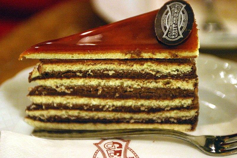 Dobos cake (Gerbeaud Confectionery Budapest Hungary).jpg