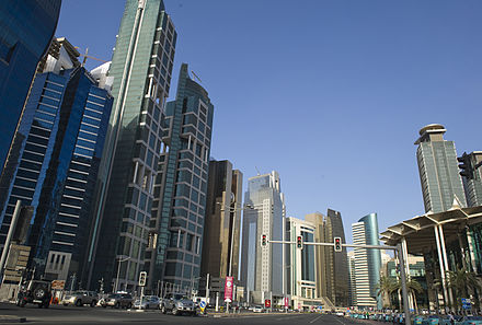 West Bay serves as the commercial district of Doha and houses offices of many local and global companies. Doha City, UNCTAD XIII (7115124733).jpg