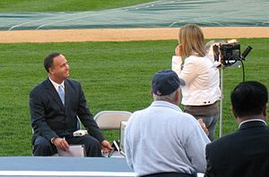 Don Orsillo - Image: Don Orsillo in Yankee Stadium, April 2008