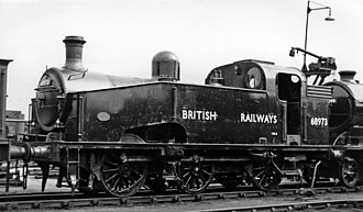 GNR Class J23 - J50/3 No. 68973 0-6-0T at Doncaster Locomotive Depot, fresh from repair at Doncaster Works
