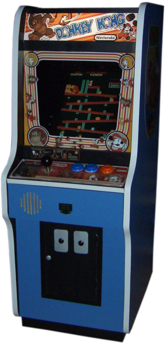 Donkey Kong was one of many popular video games that helped to popularize computer graphics to a mass audience in the 1980s. Donkey Kong arcade.png