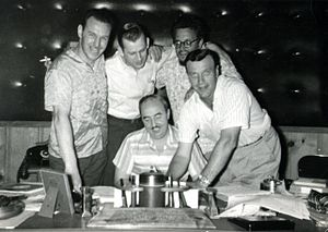Donn Reynolds - With George Morgan, Wesley Rose, Boudleaux Bryant, and Eddy Arnold at RCA studio (1957).