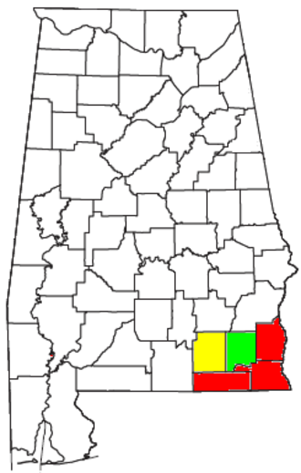Dothan metropolitan area, Alabama - Location of the Dothan-Enterprise-Ozark CSA, with the Dothan Metropolitan Statistical Area highlighted in red