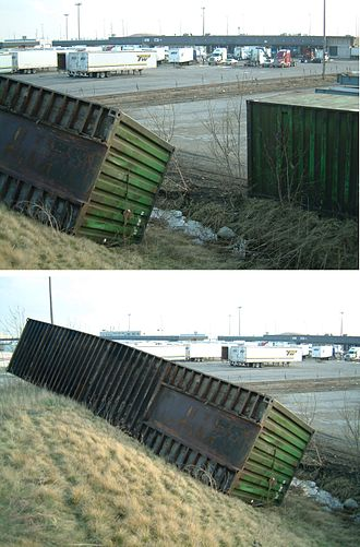 Microburst - Strong microburst winds flip a several-ton shipping container up the side of a hill, Vaughan, Ontario, Canada