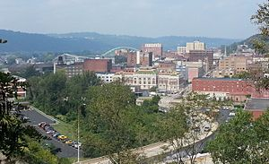 Wheeling, West Virginia - Downtown Wheeling as viewed from above 22nd Street in 2012.