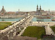 Dresden circa 1900 (Dresden Frauenkirche, Augustus Bridge, Katholische Hofkirche)