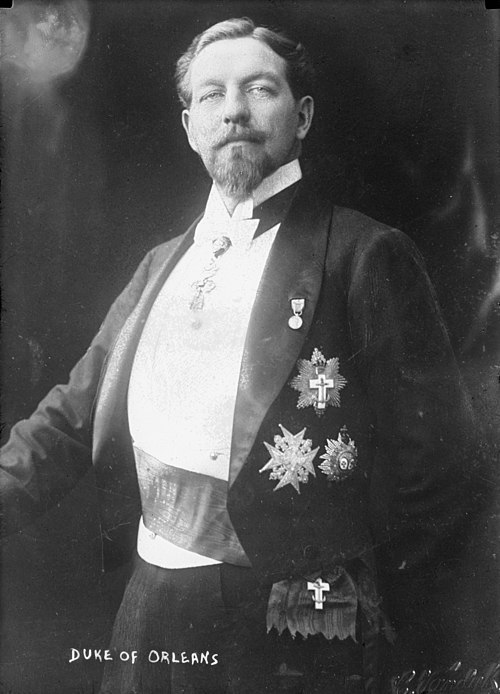 The Duke of Orleans, son of the Count of Paris, espoused conservative stances, also reviving the Order of the Holy Spirit to support his claim. DukeOrleans.jpg