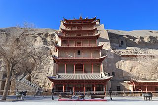 caves in Dunhuang City, Gansu, China