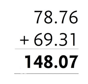 Monospaced font - Duplexed numerals in the Concourse family. The total in bold has the same width as the regular-width sum.