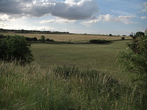 Durrington Walls - Durrington Walls, as seen from the south of the monument. It is bisected here to the left by one of the two roads that now cross the prehistoric site.