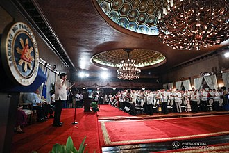Bangsamoro Transition Authority - President Rodrigo Duterte administers the oath to the members of the Bangsamoro Transition Authority during a ceremony at the Malacañang Palace on February 22, 2019.