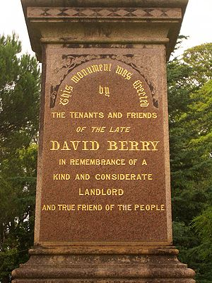 Landlord - Being a good landlord, David Berry (who had owned much of what is now known as Berry - the town was named after him) is well remembered by his tenants.